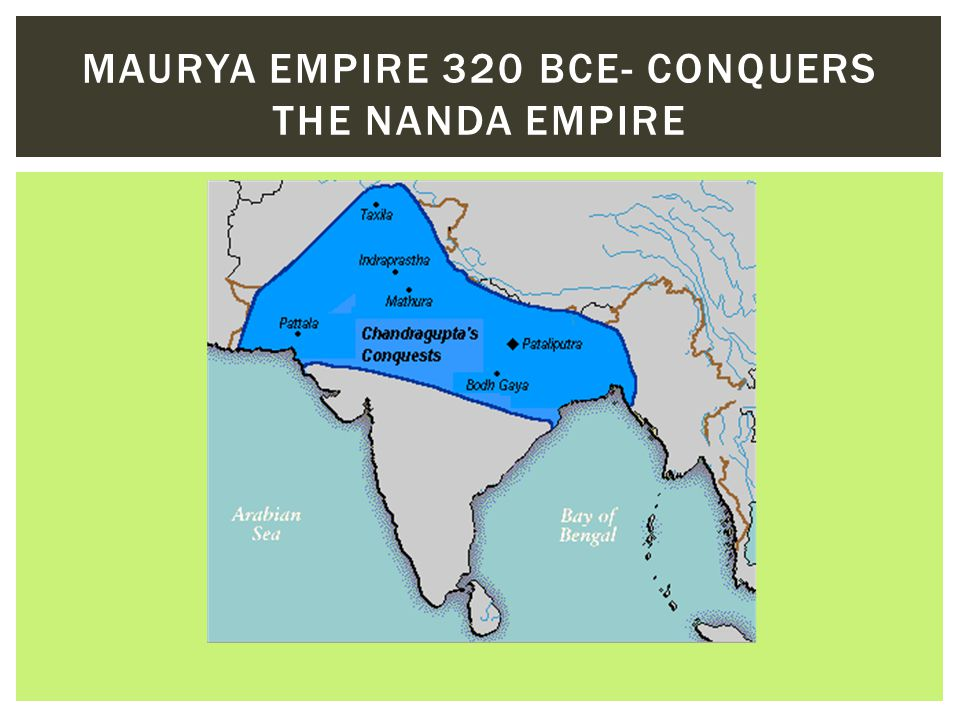 Maurya Empire 320 BCE- conquers the Nanda Empire