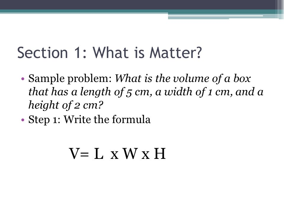How to write an equation for the volume of a box