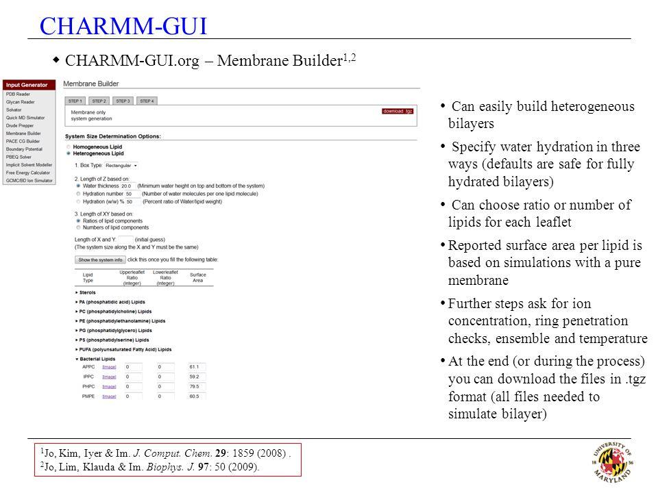 CHARMM-GUI CHARMM-GUI.org – Membrane Builder1,2
