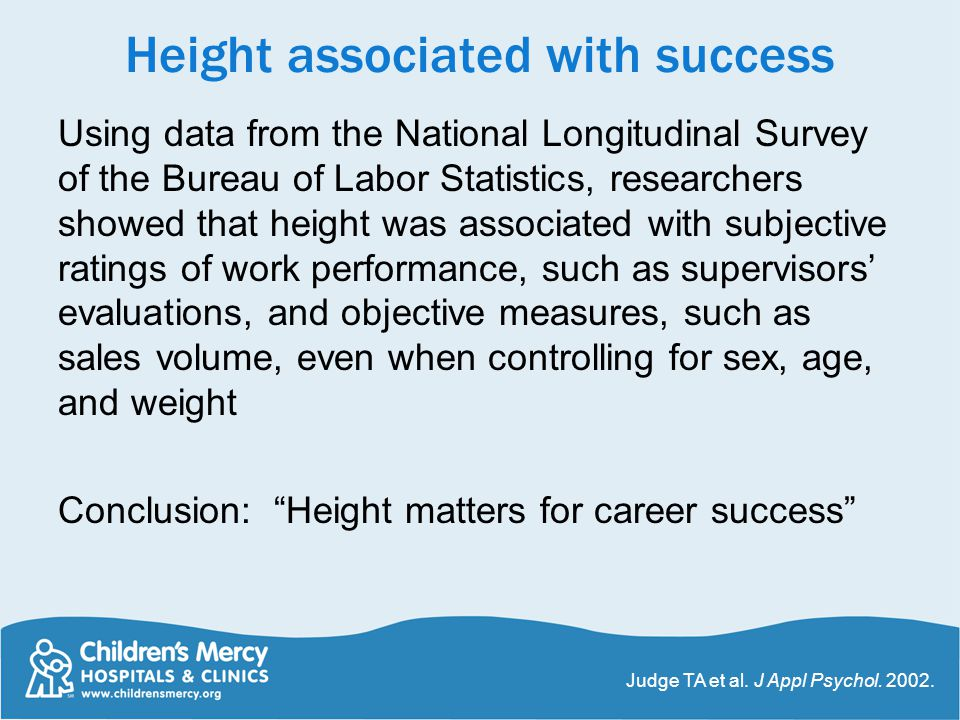 Height associated with success