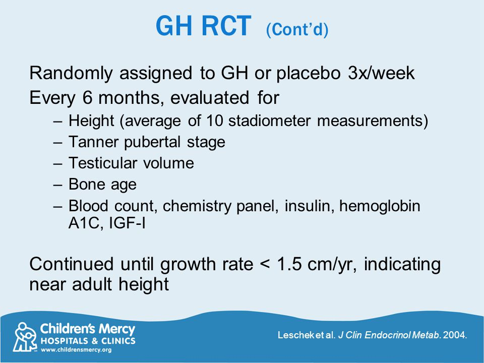 GH RCT (Cont'd) Randomly assigned to GH or placebo 3x/week