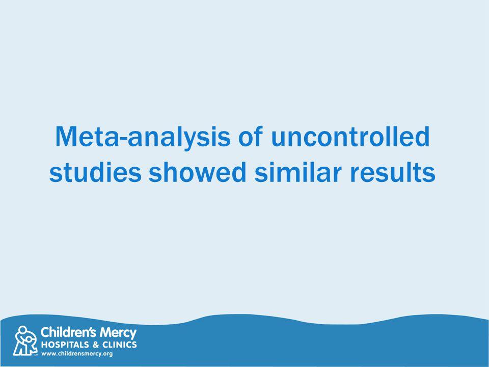 Meta-analysis of uncontrolled studies showed similar results