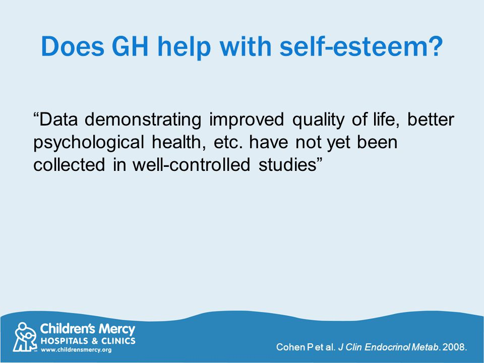 Does GH help with self-esteem