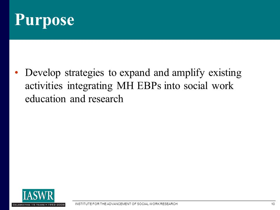 Purpose Develop strategies to expand and amplify existing activities integrating MH EBPs into social work education and research.