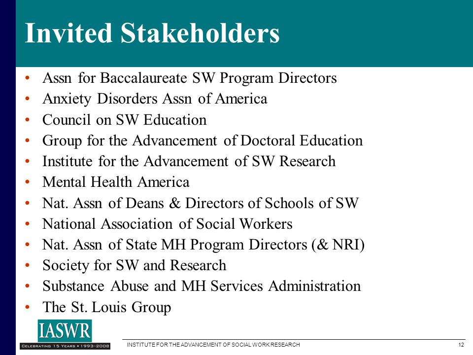 Invited Stakeholders Assn for Baccalaureate SW Program Directors