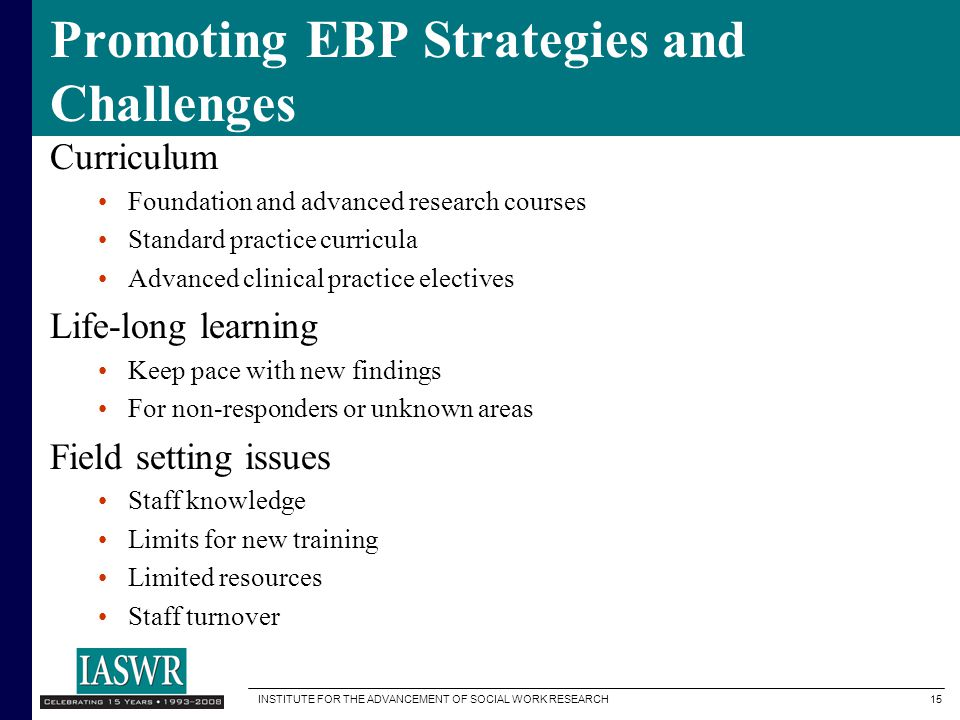 Promoting EBP Strategies and Challenges