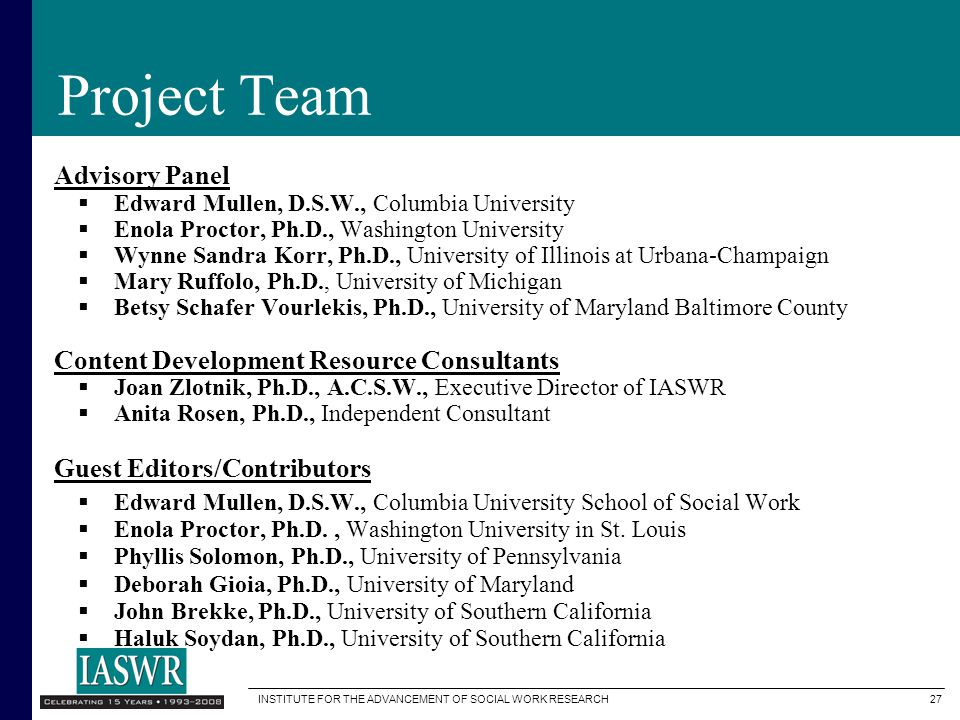 Project Team Advisory Panel Content Development Resource Consultants