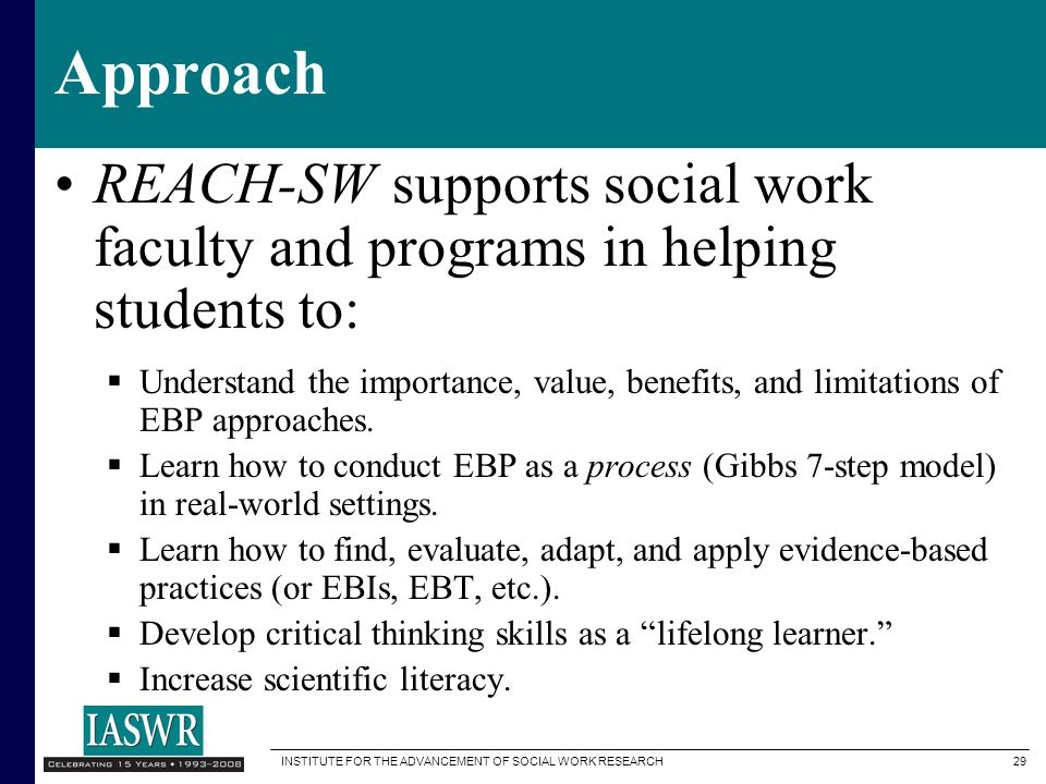 Approach REACH-SW supports social work faculty and programs in helping students to: