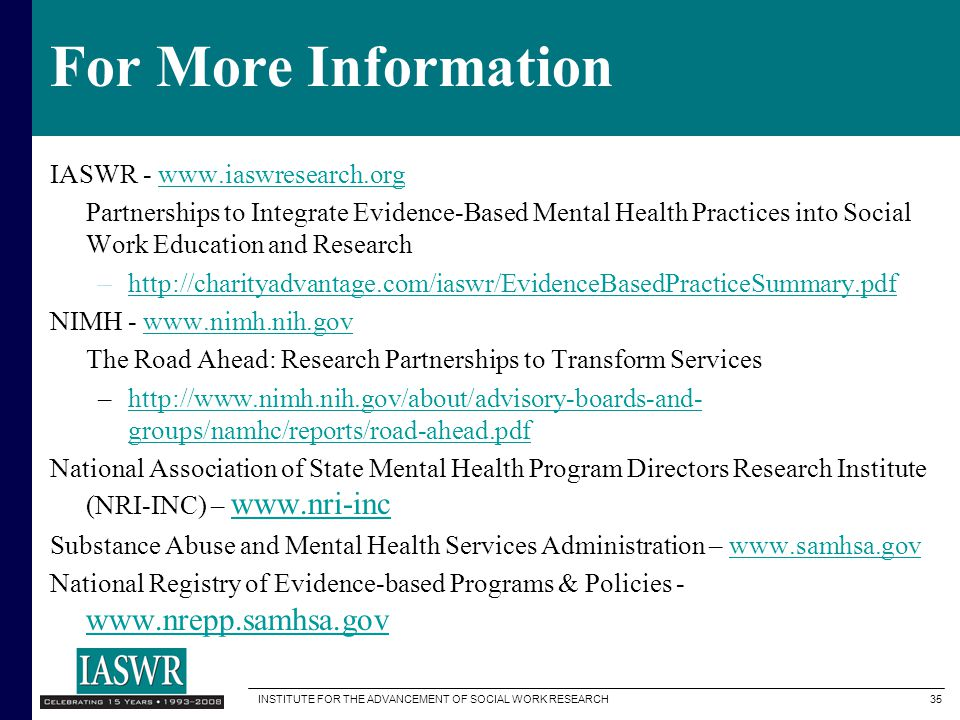 For More Information IASWR - www.iaswresearch.org