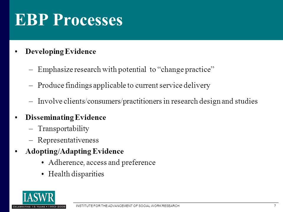 EBP Processes Developing Evidence