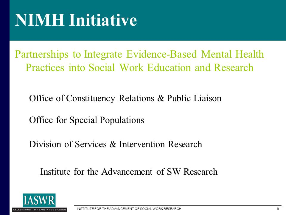 NIMH Initiative Partnerships to Integrate Evidence-Based Mental Health Practices into Social Work Education and Research.