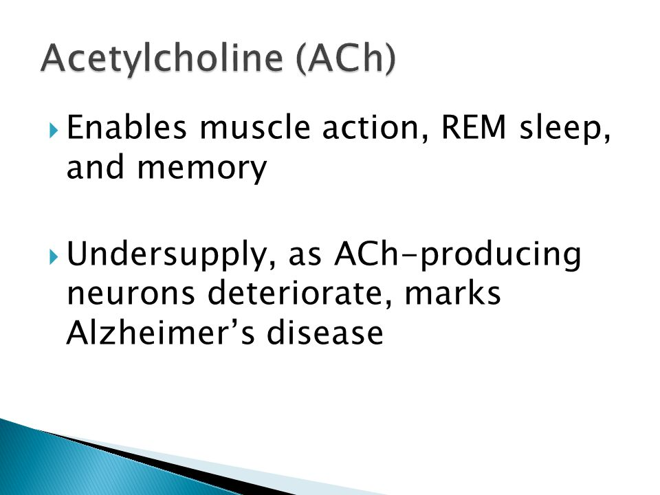 Acetylcholine (ACh) Enables muscle action, REM sleep, and memory