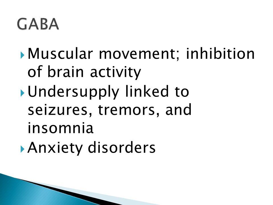GABA Muscular movement; inhibition of brain activity