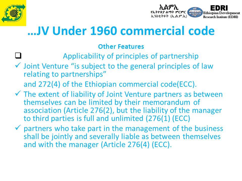 …JV Under 1960 commercial code