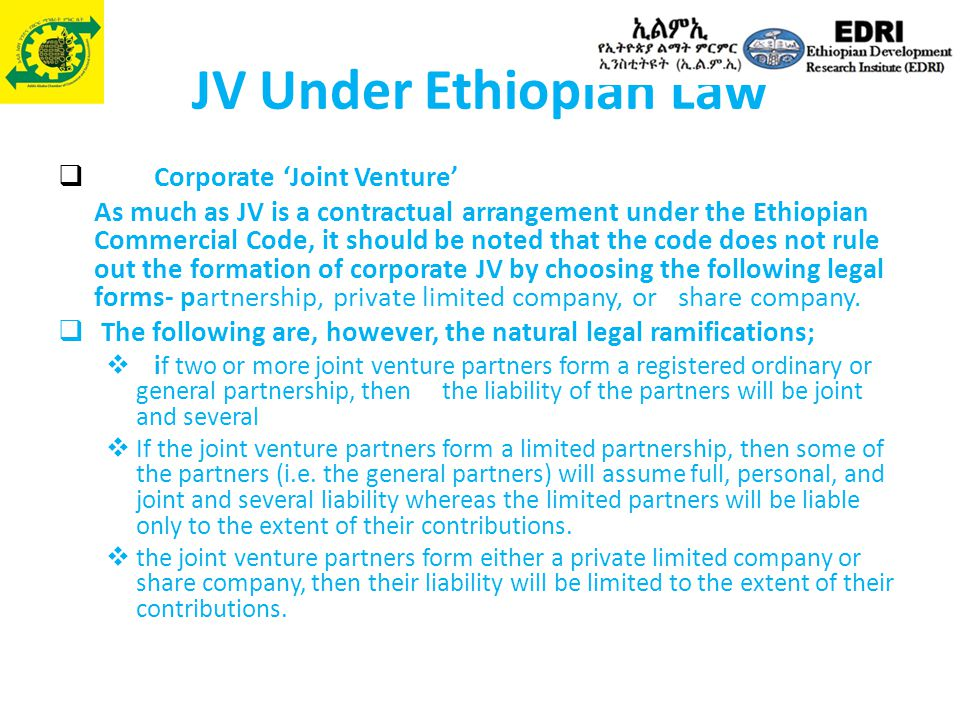 JV Under Ethiopian Law Corporate 'Joint Venture'