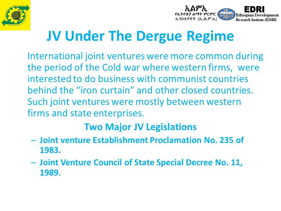 JV Under The Dergue Regime