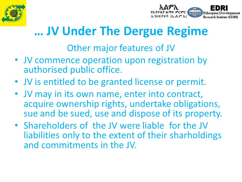 … JV Under The Dergue Regime