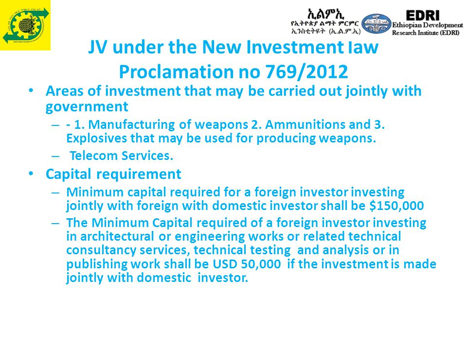 JV under the New Investment law Proclamation no 769/2012
