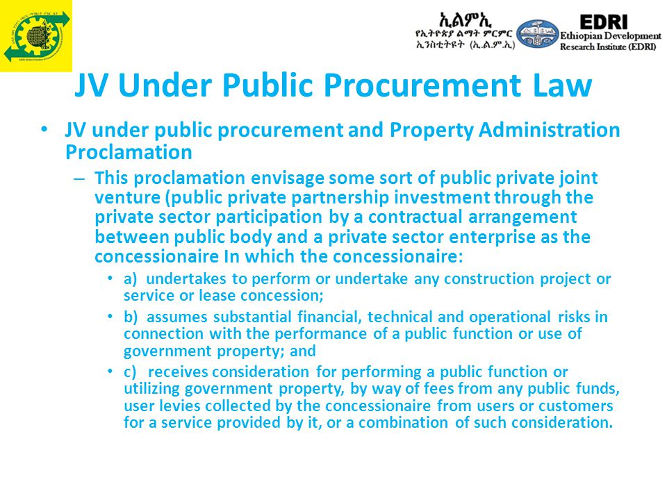 JV Under Public Procurement Law