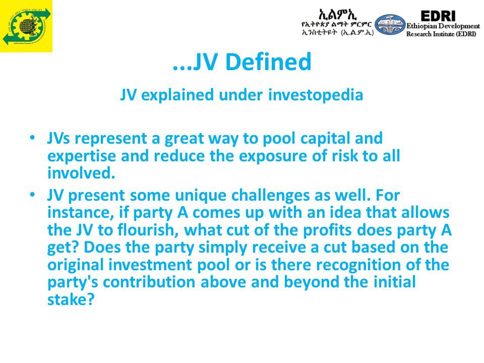 JV explained under investopedia