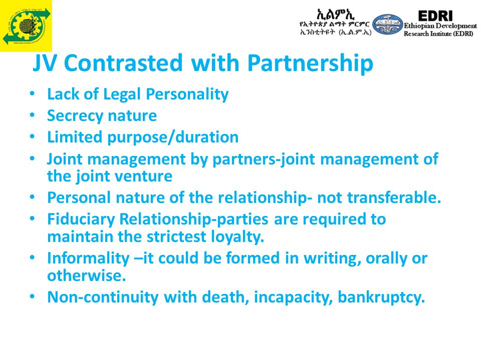 JV Contrasted with Partnership