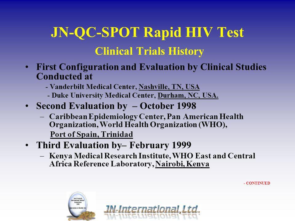 JN-QC-SPOT Rapid HIV Test Clinical Trials History