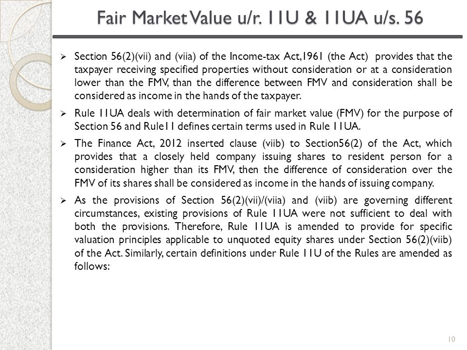 Fair Market Value u/r. 11U & 11UA u/s. 56