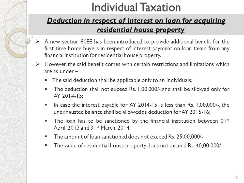 Individual Taxation Deduction in respect of interest on loan for acquiring residential house property.
