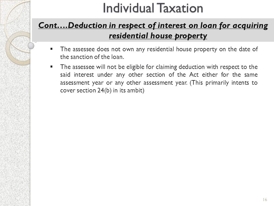 Individual Taxation Cont….Deduction in respect of interest on loan for acquiring residential house property.