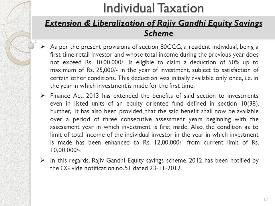 Extension & Liberalization of Rajiv Gandhi Equity Savings Scheme