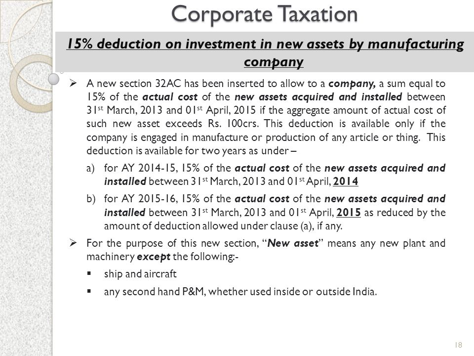 15% deduction on investment in new assets by manufacturing company
