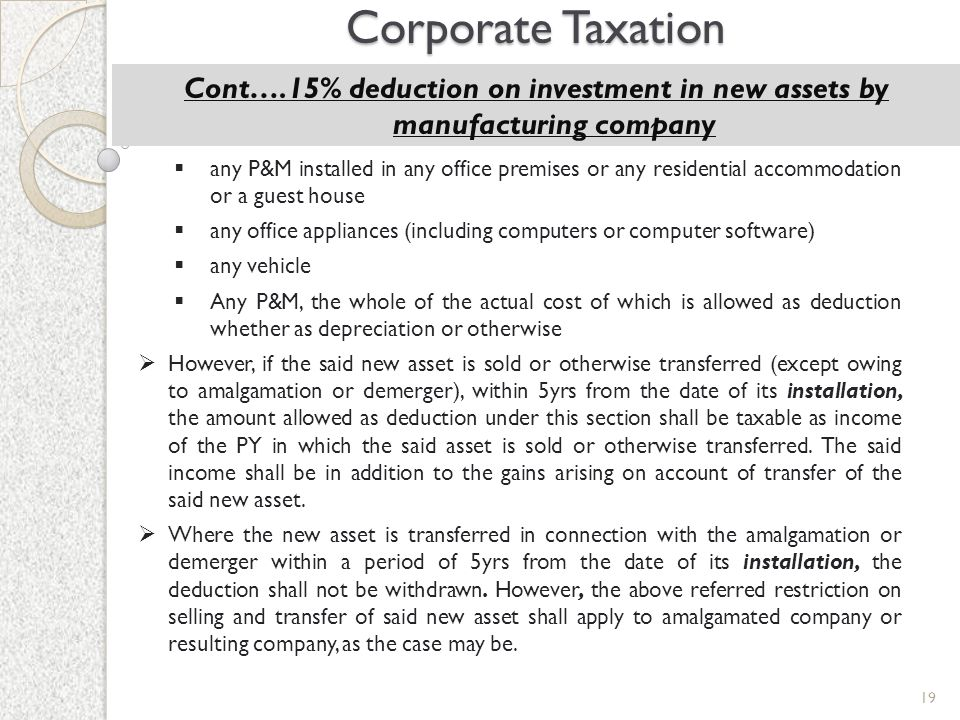 Corporate Taxation Cont….15% deduction on investment in new assets by manufacturing company.