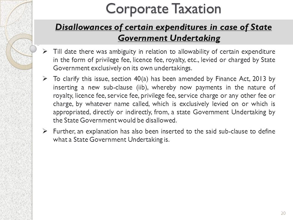 Corporate Taxation Disallowances of certain expenditures in case of State Government Undertaking.