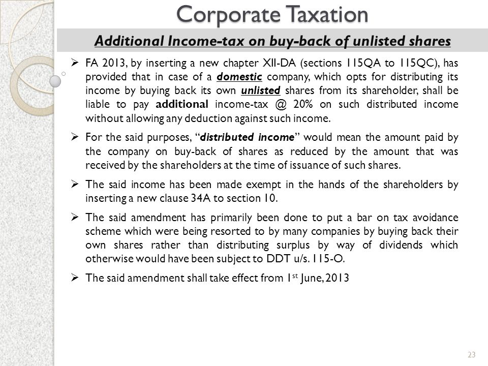 Additional Income-tax on buy-back of unlisted shares