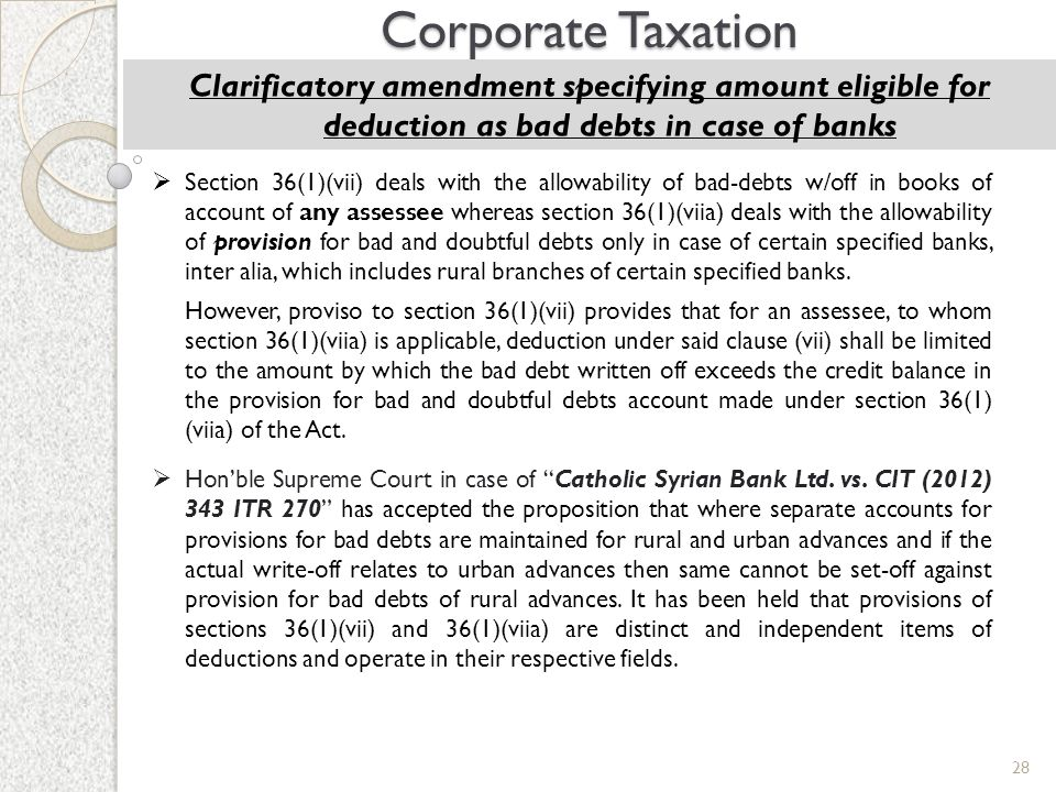 Corporate Taxation Clarificatory amendment specifying amount eligible for deduction as bad debts in case of banks.