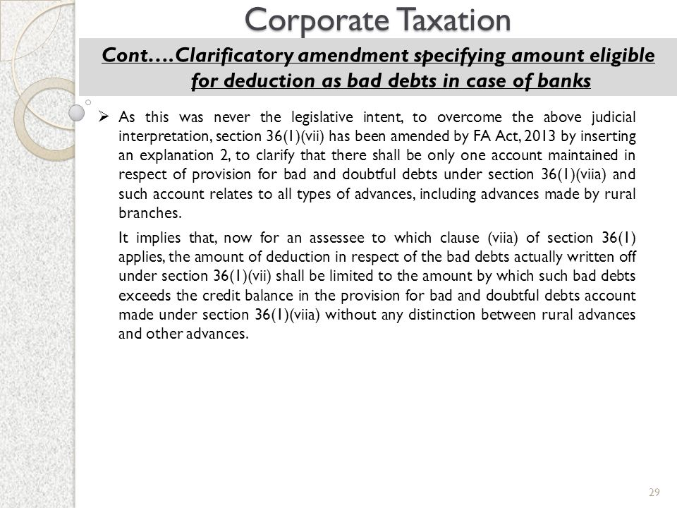 Corporate Taxation Cont….Clarificatory amendment specifying amount eligible for deduction as bad debts in case of banks.