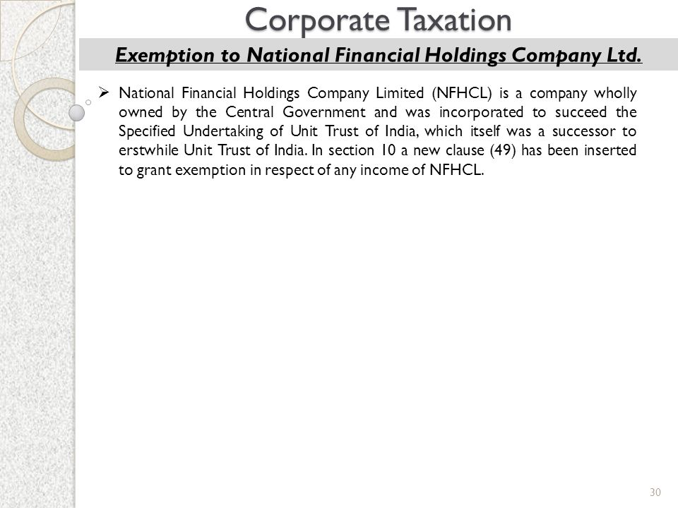 Exemption to National Financial Holdings Company Ltd.