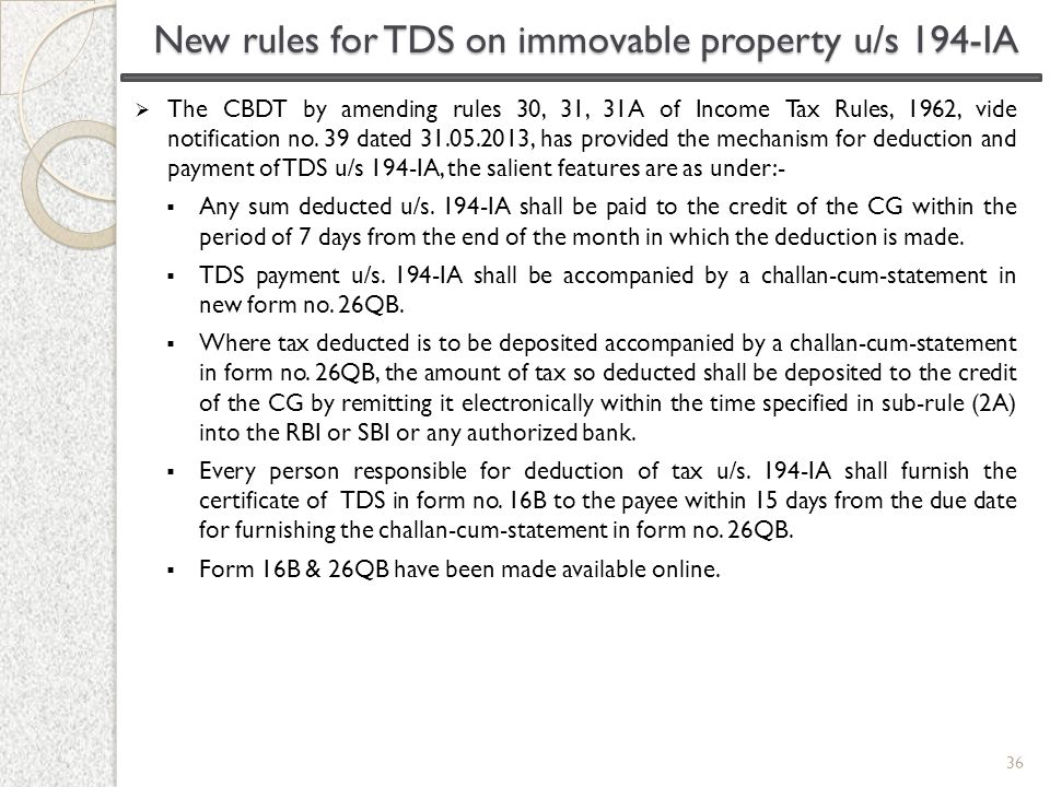 New rules for TDS on immovable property u/s 194-IA