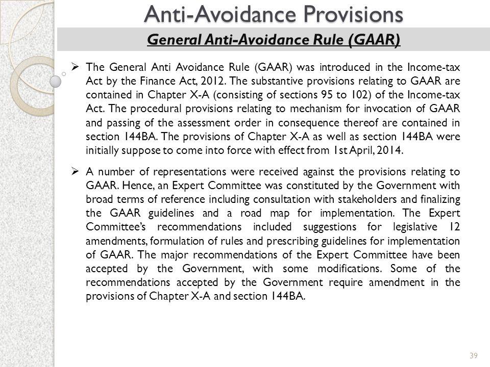 General Anti-Avoidance Rule (GAAR)