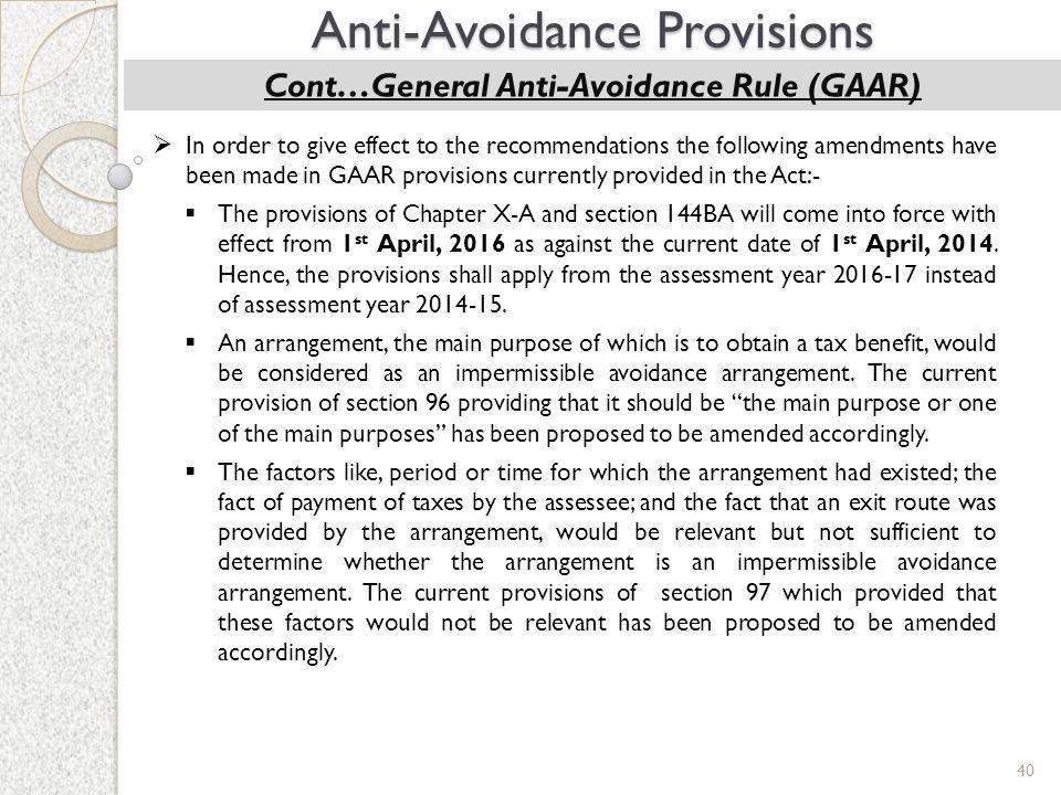 Cont…General Anti-Avoidance Rule (GAAR)