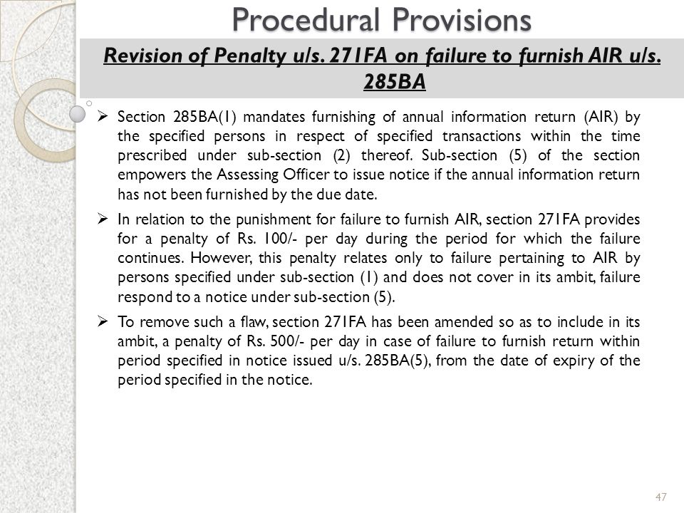 Revision of Penalty u/s. 271FA on failure to furnish AIR u/s. 285BA