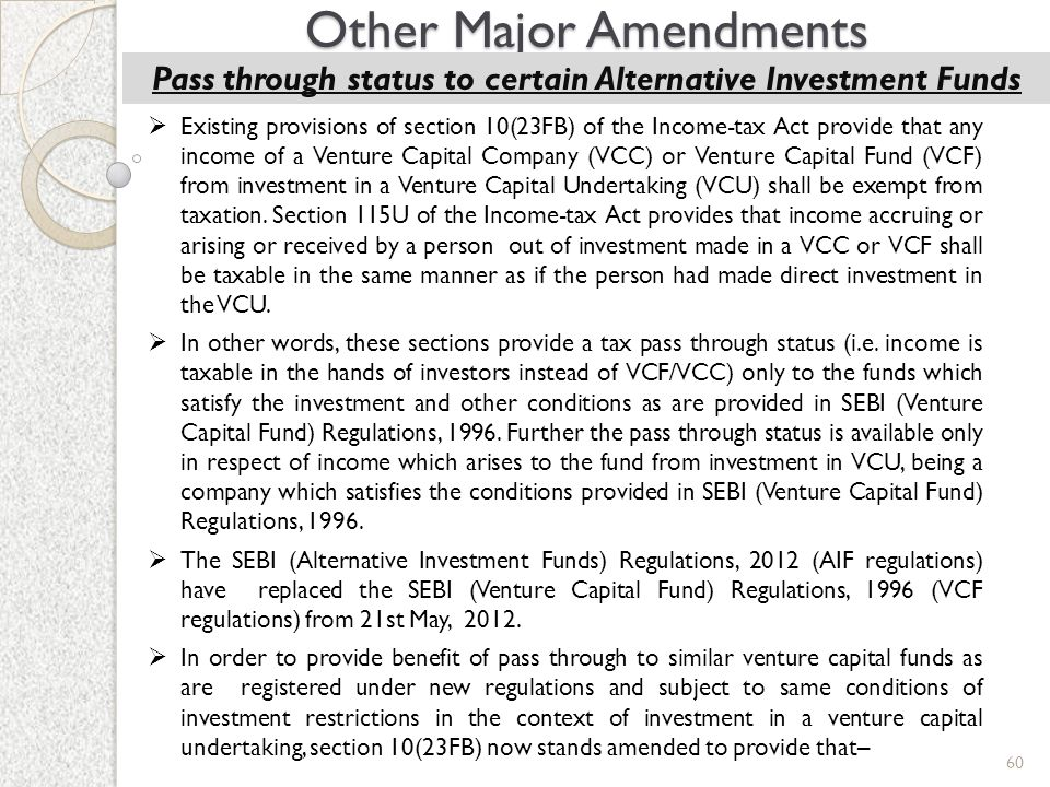 Pass through status to certain Alternative Investment Funds