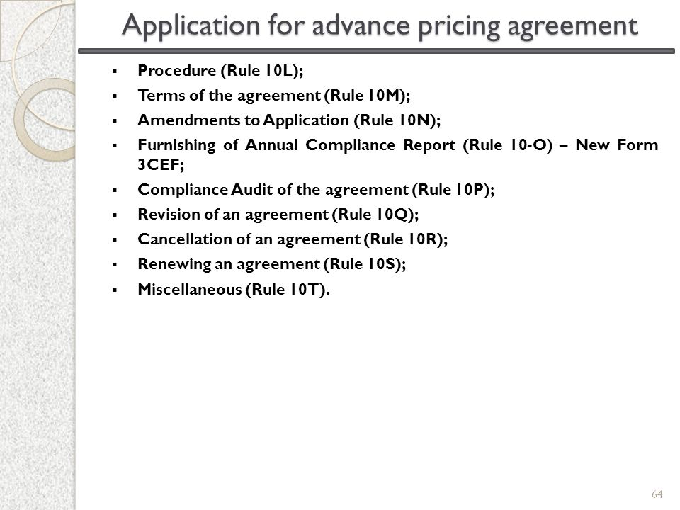 Application for advance pricing agreement