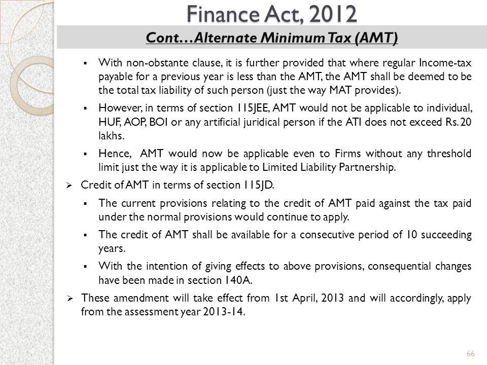 Cont…Alternate Minimum Tax (AMT)