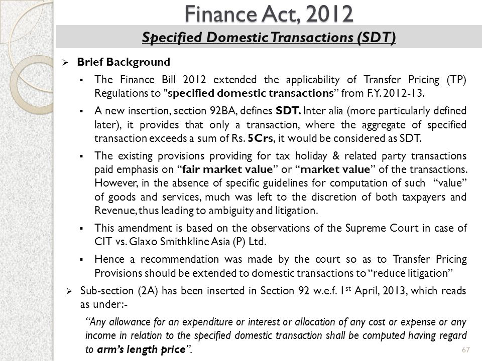 Specified Domestic Transactions (SDT)