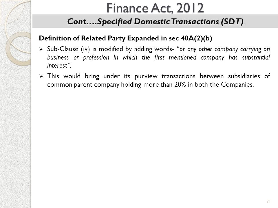 Cont….Specified Domestic Transactions (SDT)