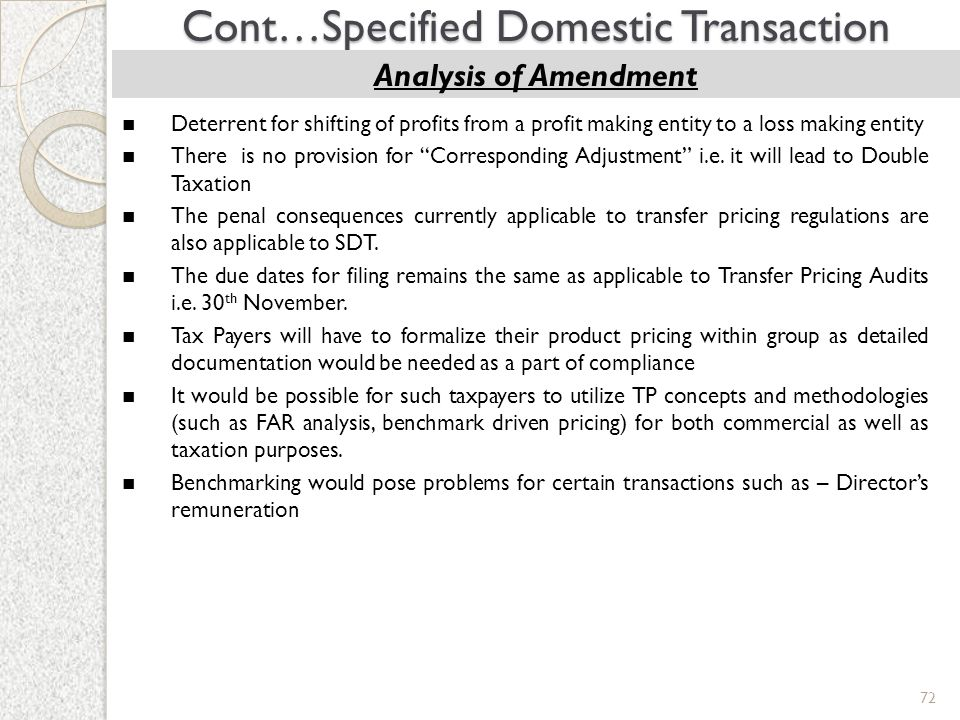 Cont…Specified Domestic Transaction