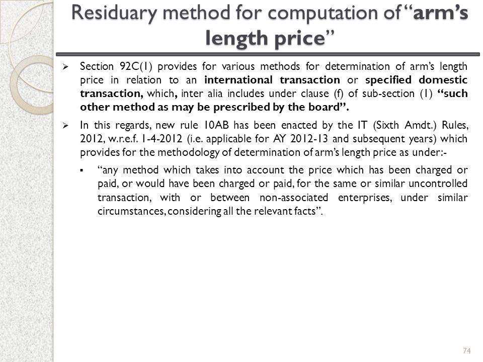 Residuary method for computation of arm's length price