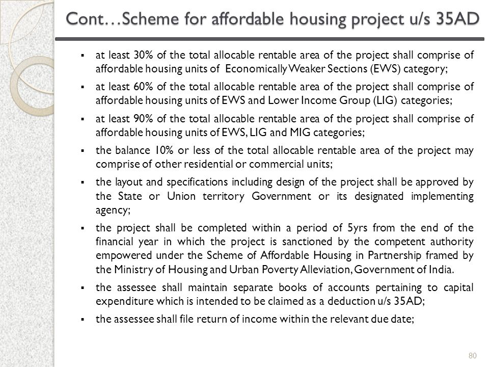 Cont…Scheme for affordable housing project u/s 35AD