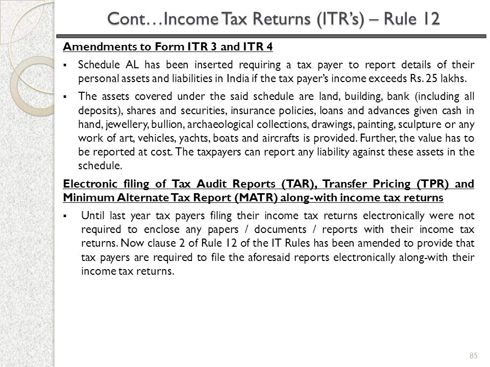 Cont…Income Tax Returns (ITR's) – Rule 12